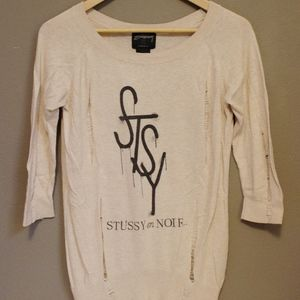 Stussy en Noir Cream colored sweater size x-small
